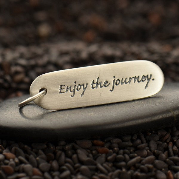 Sterling Silver Quote Charm - Enjoy the journey - Poppies Beads n' More