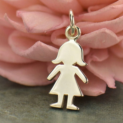 Sterling Silver Cut Out Girl Charm - Poppies Beads n' More