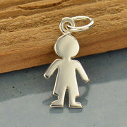 Sterling Silver Cut Out Boy Charm - Poppies Beads n' More