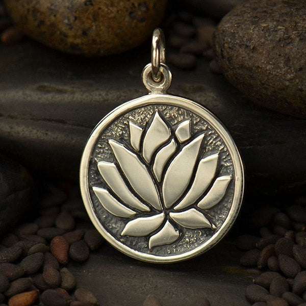 Sterling Silver Etched Lotus Flower Charm - Poppies Beads n' More