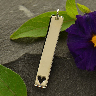 Sterling Silver Long Stamping Blank with Heart - Poppies Beads n' More
