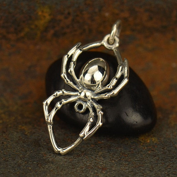 Sterling Silver Realistic Spider Charm - Poppies Beads n' More