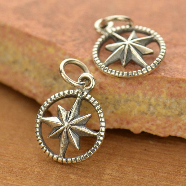 Sterling Silver Starburst Compass Charm - Poppies Beads n' More