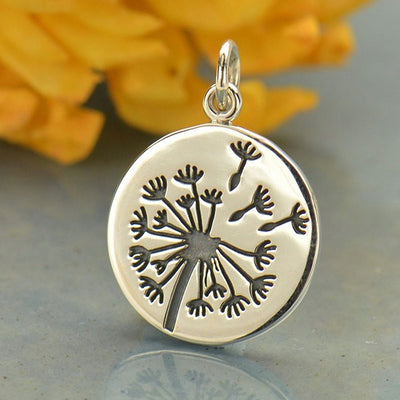 Sterling Silver Large Dandelion Charm - Poppies Beads n' More