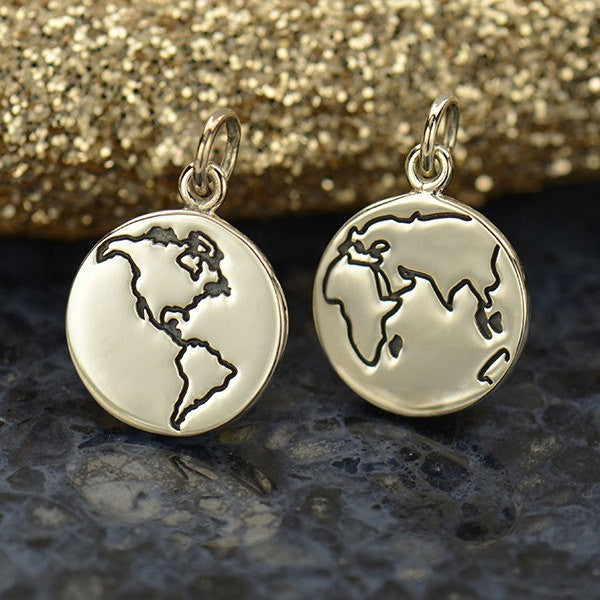 Sterling Silver Etched Globe Charm - Poppies Beads n' More