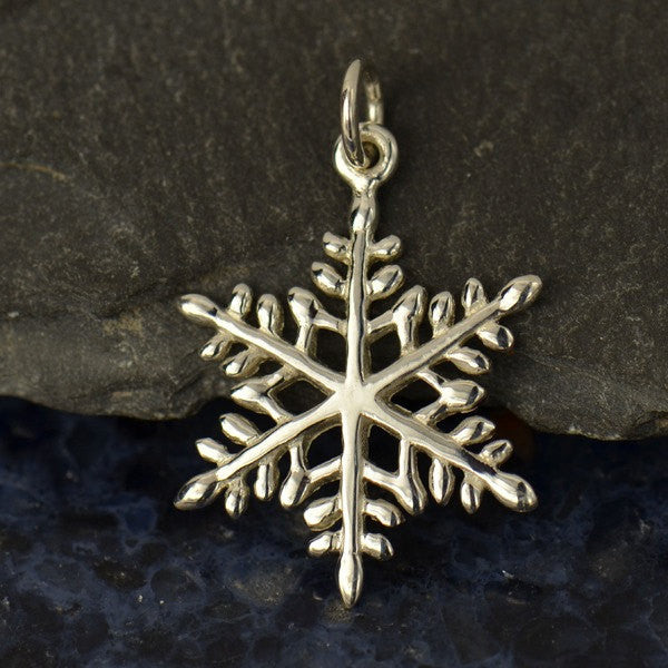 Large Sterling Silver Snowflake Charm - Poppies Beads n' More