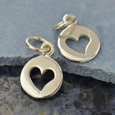 Tiny Sterling Silver Disk with Heart Cutout Charms - Poppies Beads n' More