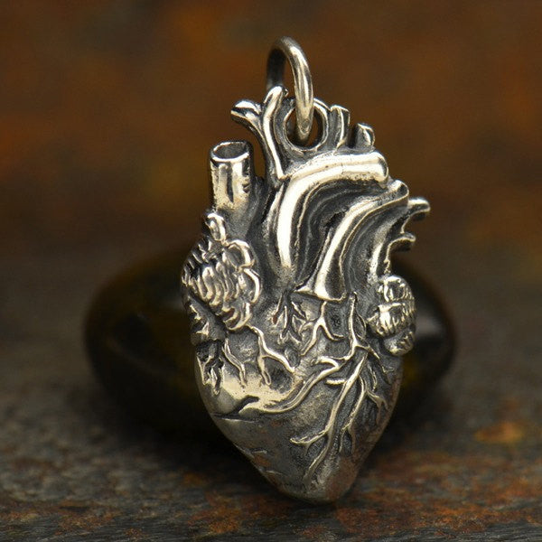 Sterling Silver Anatomical Heart Charm - Poppies Beads n' More