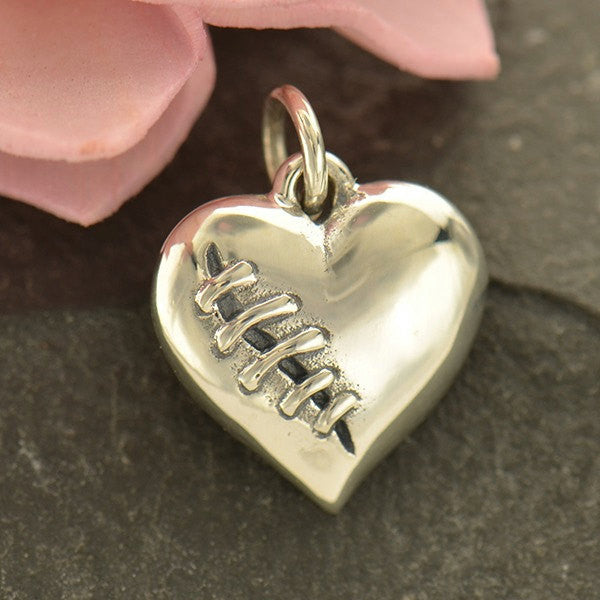 Sterling Silver Mended Heart Charm - Poppies Beads n' More