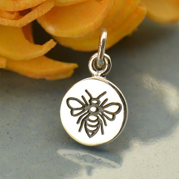 Sterling Silver Etched Bumble Bee Charm - Poppies Beads n' More