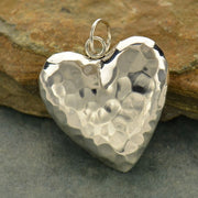 Sterling Silver Hammered Puffed Heart Pendant - Poppies Beads n' More