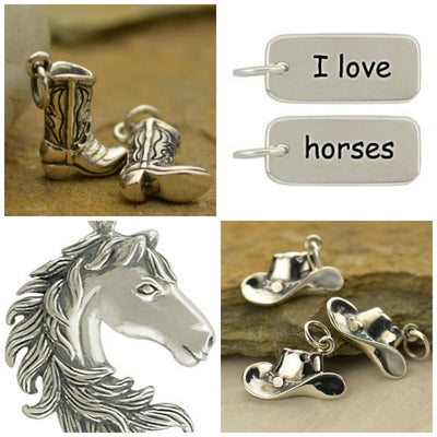 Sterling Silver Cowgirl Collection Charms - Poppies Beads n' More