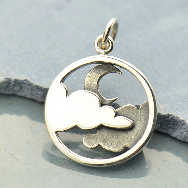 Sterling Silver Moon and Cloud Pendant - Poppies Beads n' More