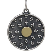 Mixed Metal Mandala Charm with Granulation and Bronze - Poppies Beads n' More