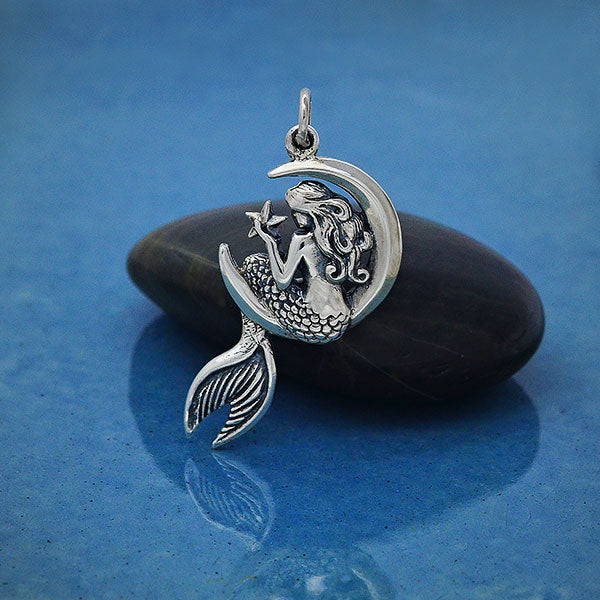 Sterling Silver Mermaid on the Moon Pendant