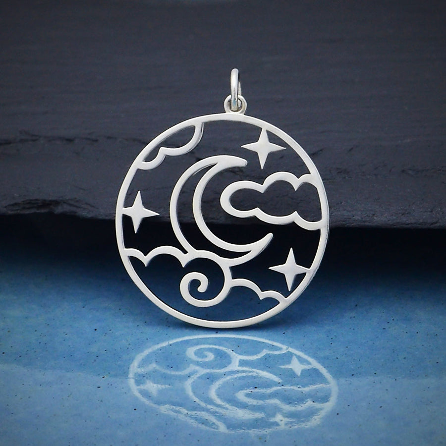 Sterling Silver Openwork Night Sky Pendant