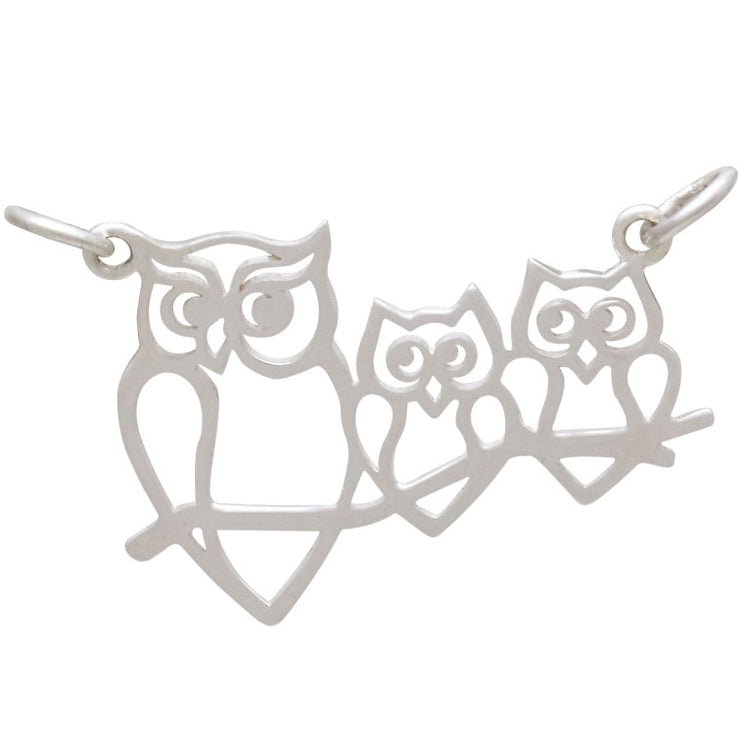 Sterling Silver Mama and 2 Baby Owl Pendant Festoon - Poppies Beads n' More