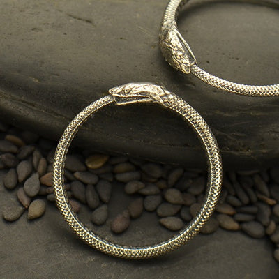 Sterling Silver Ring - Ouroboros Snake Ring - Poppies Beads n' More