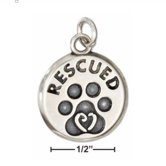 Sterling Silver Rescued Dog Paw Pendant - Poppies Beads n' More