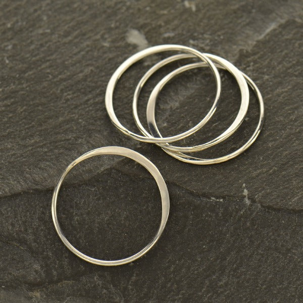 Large Half Hammered Circle Silver Link