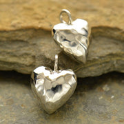 Sterling Silver Hammered Puffed Heart Pendant, - Poppies Beads n' More