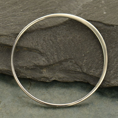 3X Large Half Hammered Circle Silver Link