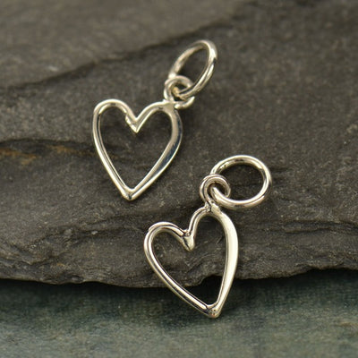 Small Sterling Silver Open Heart Charm - Poppies Beads n' More