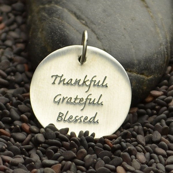 Round Sterling Silver Quote Charm - Poppies Beads n' More