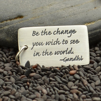 Rectangle Sterling Silver Gandhi Quote Charm - Poppies Beads n' More