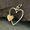 Sterling Silver Open Heart with Bronze Heart Charm - Poppies Beads n' More