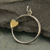 Sterling Silver Open Circle with Bronze Heart Charm - Poppies Beads n' More