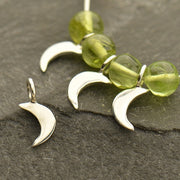 Sterling Silver Tiny Crescent Moon Dangle - Poppies Beads n' More