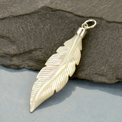 Hand Carved Mother of Pearl Feather Pendant - Poppies Beads n' More