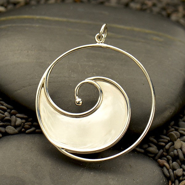 Large Sterling Silver Ocean Wave Pendant - Poppies Beads n' More