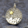 Sterling Silver Mountain Pendant with Bronze Star - Poppies Beads n' More