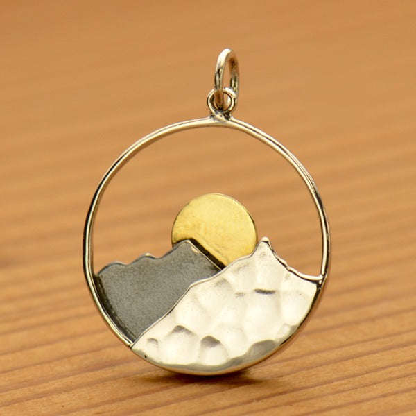 Sterling Silver Mountain Range Pendant with Bronze Sun, - Poppies Beads n' More