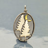 Sterling Silver Pine Tree Charm with Bronze Moon - Poppies Beads n' More