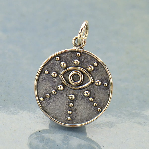 Sterling Silver Evil Eye Pendant with Granulation - Poppies Beads n' More