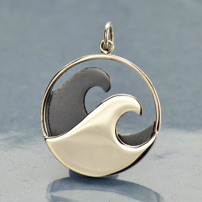 Large Sterling Silver Double Wave Pendant - Poppies Beads n' More