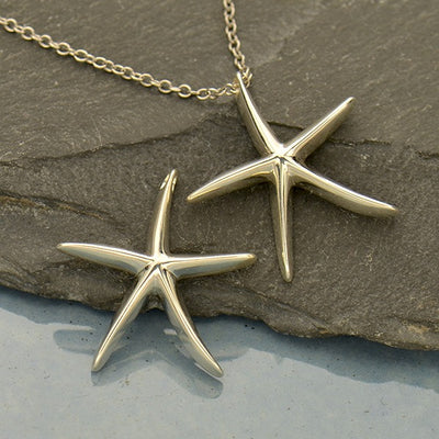 Sterling Silver Starfish Bead - Starfish Pendant - Poppies Beads n' More