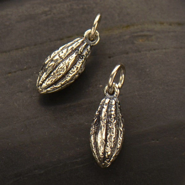 Silver Cocoa Bean Pendant - Chocolate Pod Charm - Poppies Beads n' More