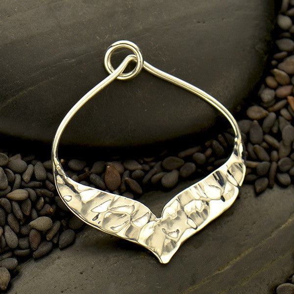 Silver Arabesque Pendant with Hammer Texture Bottom Edge - Poppies Beads n' More