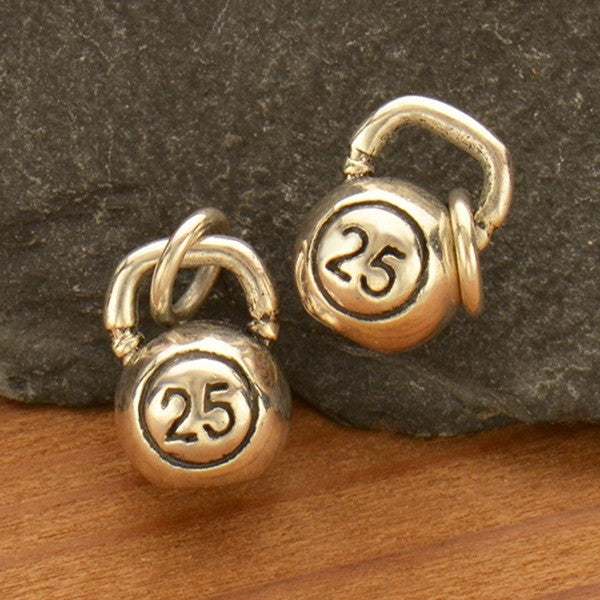 Sterling Silver Kettle Bell Charm - Poppies Beads n' More