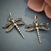 Sterling Silver Small Detailed Dragonfly Charm - Poppies Beads n' More