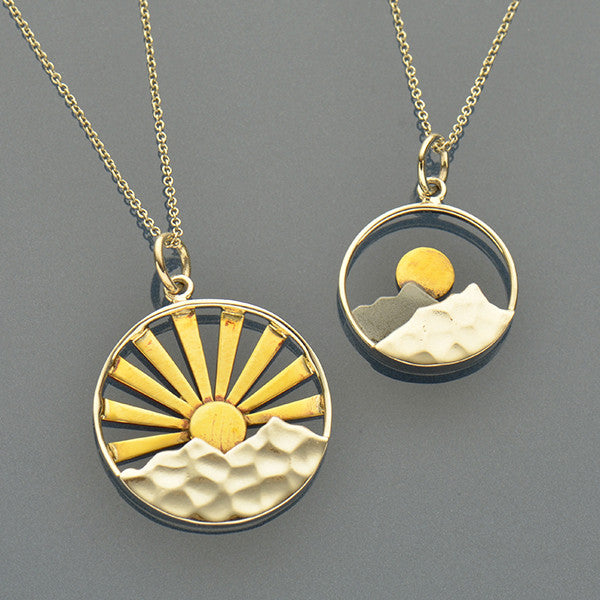 Sunrise Charm Necklaces - Big and Small Mixed Metal Mountain - Poppies Beads n' More