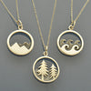 Wanderlust Charm Necklaces - Mountain, Ocean and Pine Tree - Poppies Beads n' More