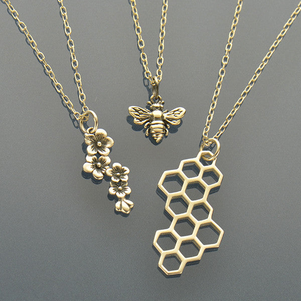 Honey Charm Necklaces - Bee, Cherry Blossom & Honeycomb - Poppies Beads n' More