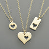 Love Charm Necklaces - 3 Sterling Silver Heart Cutout Charms - Poppies Beads n' More