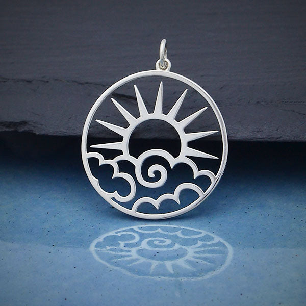Sterling Silver Openwork Sun Pendant with Clouds