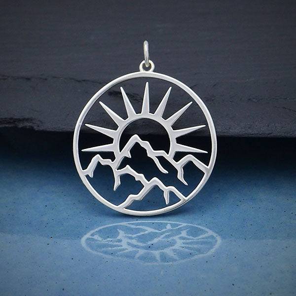 Sterling Silver Openwork Sun Pendant with Mountains